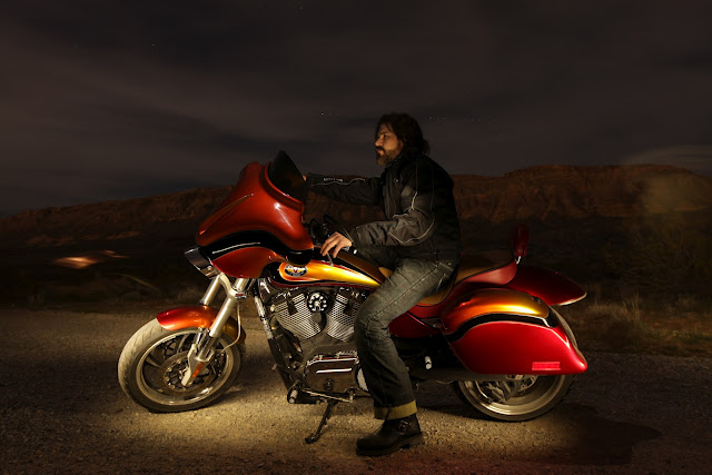 Guy on motorcycle:  Popular Mechanics Top Shop: Netcong Auto Restorations, 2011 Custom Victory S Motorcycle